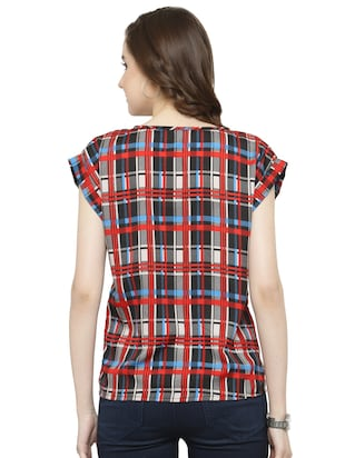 red checkered crepe top - 15115242 - Standard Image - 3