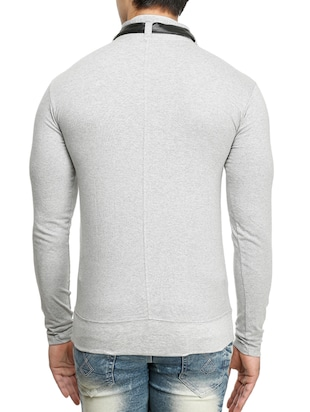 grey cotton collared t-shirt - 15115270 - Standard Image - 3