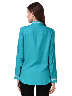 blue cotton embroidered shirt - 15115664 - Standard Image - 3