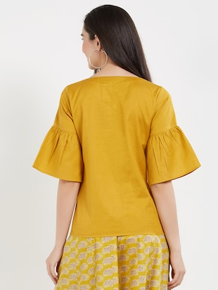 solid yellow cotton top - 15116255 - Standard Image - 3