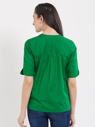 solid green cotton top - 15116266 - Standard Image - 3