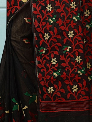 black cotton silk jamdani saree - 15116729 - Standard Image - 3
