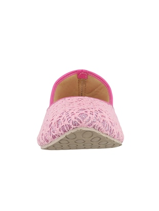 pink fabric slip on jutis & mojaris - 15116778 - Standard Image - 3