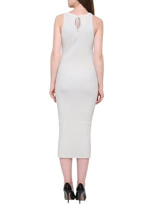 solid white viscose bodycon dress - 15116946 - Standard Image - 3