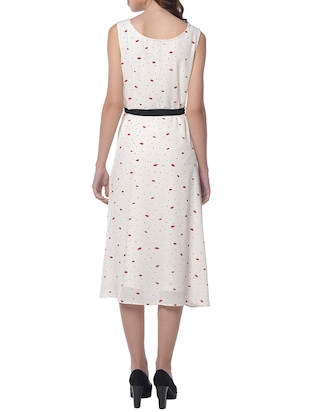white printed belted dress - 15117143 - Standard Image - 3