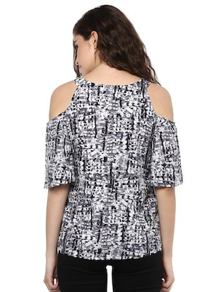 black crepe printed straight top - 15117160 - Standard Image - 3
