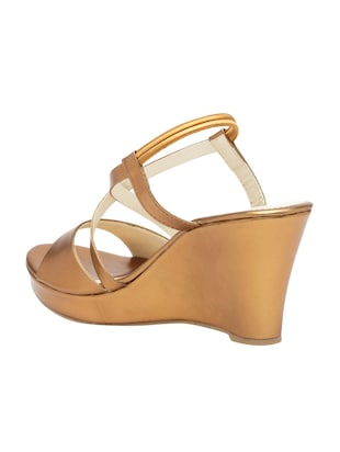 copper faux leather closed back wedges - 15117421 - Standard Image - 3