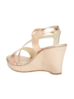 metallic faux leather closed back wedges - 15117423 - Standard Image - 3