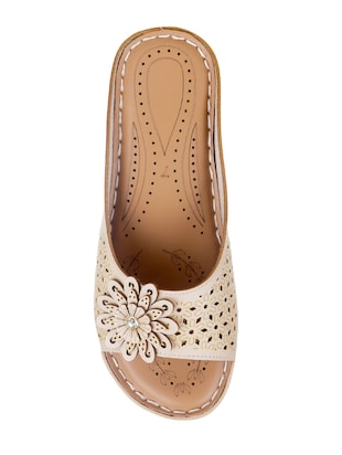 beige faux leather slippers - 15118171 - Standard Image - 3