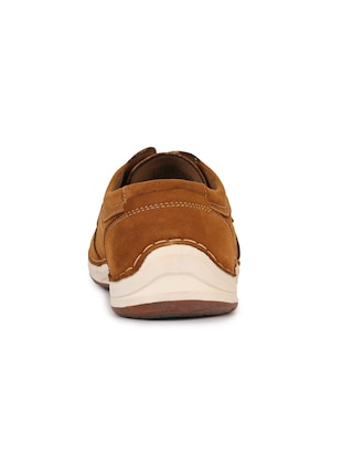 brown leatherette lace up sneaker - 15118292 - Standard Image - 3