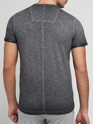 grey cotton washed tshirt - 15118485 - Standard Image - 3
