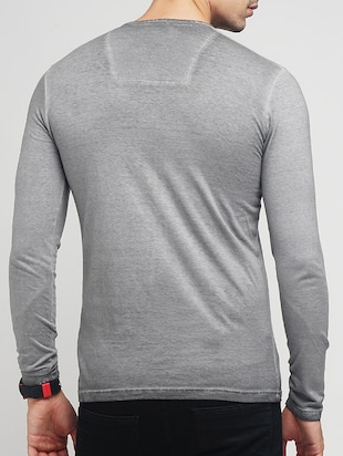 grey cotton washed t-shirt - 15118496 - Standard Image - 3