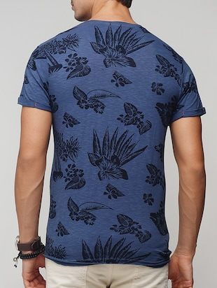 blue cotton all over print t-shirt - 15118504 - Standard Image - 3