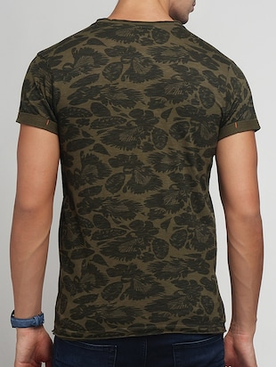 olive green cotton all over print t-shirt - 15118516 - Standard Image - 3