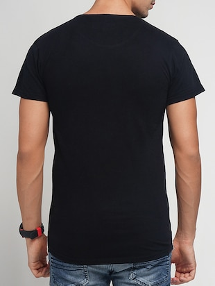 black cotton ripped t-shirt - 15118540 - Standard Image - 3