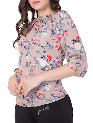 beige floral off-shoulder top - 15119027 - Standard Image - 3
