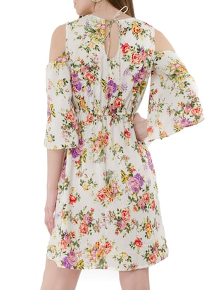 white floral a-line dress - 15120863 - Standard Image - 3