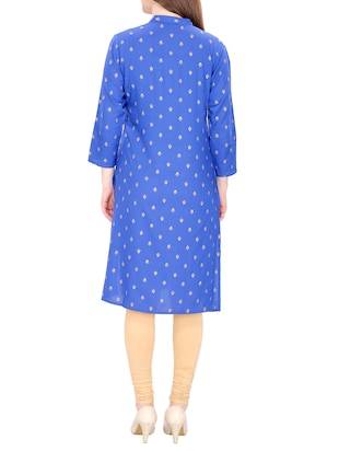 blue cotton straight printed kurta - 15120869 - Standard Image - 3