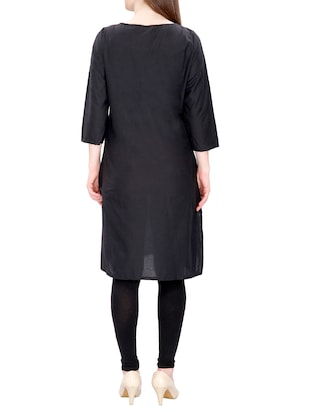 black cotton straight kurta - 15120870 - Standard Image - 3