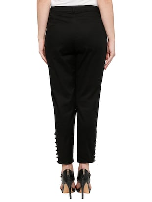solid black cotton cigarette pant - 15122337 - Standard Image - 3