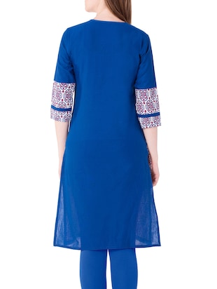 blue cotton straight kurta - 15122368 - Standard Image - 3