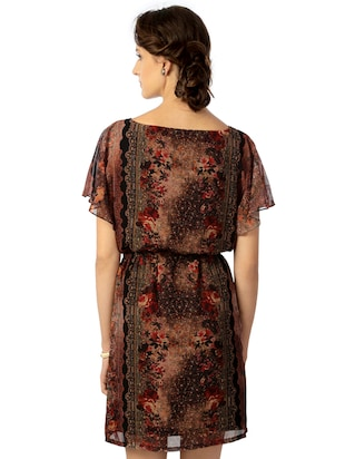 brown printed blouson dress - 15123841 - Standard Image - 3