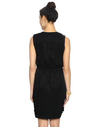 black solid blouson dress - 15123858 - Standard Image - 3