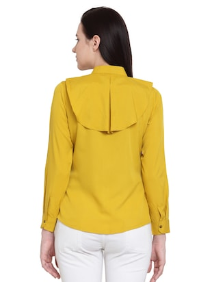 yellow solid crepe shirt - 15124114 - Standard Image - 3