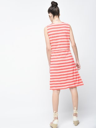 pink striped cotton a-line dress - 15136251 - Standard Image - 3
