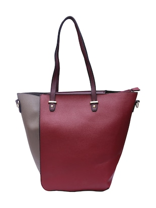 grey leatherette (pu) combo tote - 15146361 - Standard Image - 3