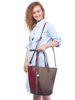 grey leatherette (pu) combo tote - 15146361 - Standard Image - 6