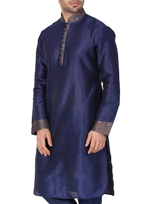 blue silk blend long kurta - 15159453 - Standard Image - 3