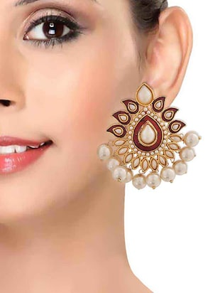 Red Gold Tone Pearl Inspired Earrings - 15166986 - Standard Image - 3