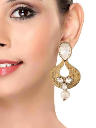 white gold tone drop earring - 15167019 - Standard Image - 3