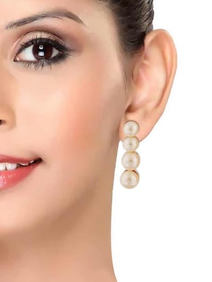 White Gold Tone Pearl Inspired Earrings - 15167145 - Standard Image - 3
