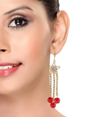 pink Gold Tone Drop Earrings - 15167146 - Standard Image - 3