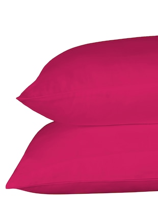 210 TC 100% Cotton Percale Solid, Hot Pink Color, Pair Of Regular Size Pillow Covers - 15170219 - Standard Image - 3