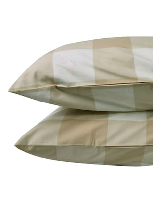 300 TC 100% Cotton Damask, Yarn Dyed Self Checks, Beige Color, Pair Of Regular Size Pillow Covers - 15170405 - Standard Image - 3