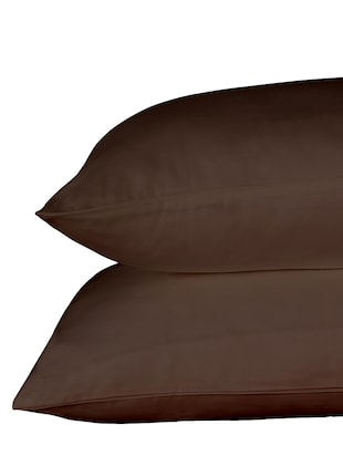 600 TC 100% Cotton Sateen Solid, Dark Chocolate Color, Pair Of Large Size Pillow Covers - 15170459 - Standard Image - 3
