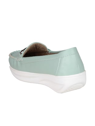 sea green resin slip on loafers - 15173292 - Standard Image - 3