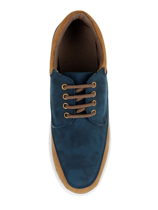 blue leatherette lace up sneaker - 15173368 - Standard Image - 3