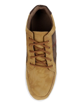 beige leatherette lace up sneaker - 15173369 - Standard Image - 3