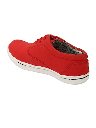 red Canvas lace up sneaker - 15173372 - Standard Image - 3