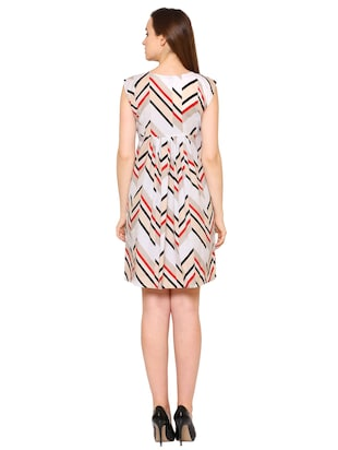 white crepe chevron a-line dress - 15175735 - Standard Image - 3