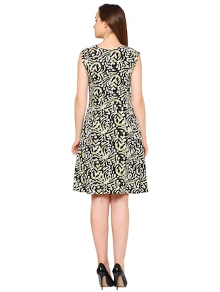Black crepe batik a-line dress - 15175736 - Standard Image - 3