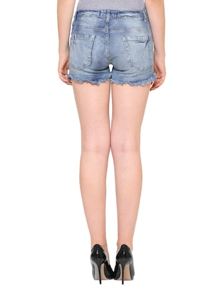 blue stone wash denim shorts - 15176363 - Standard Image - 3