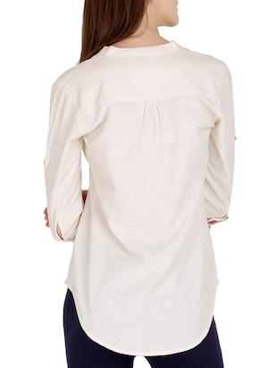 cream solid cotton top - 15176721 - Standard Image - 3