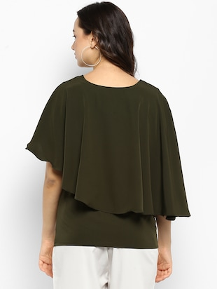 Olive green solid layered top - 15177092 - Standard Image - 3