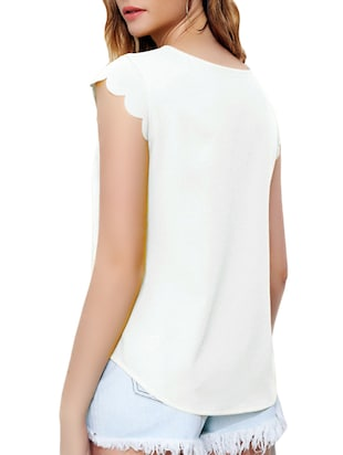 v cut out scallop sleeved top - 15177234 - Standard Image - 3