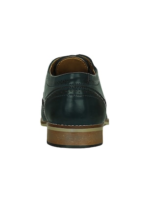blue leatherette lace-up brouge - 15177347 - Standard Image - 3